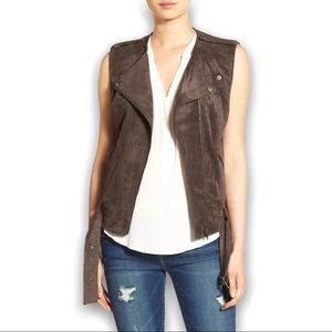 ASTR The Label Faux Suede Belted Waist Moto Biker Vest Brown Size Small